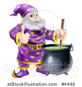 Vector Illustration of a Wizard Holding a Thumb up and Stirring Contents in a Cauldron by AtStockIllustration