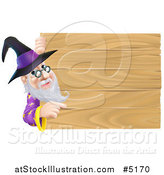 Vector Illustration of a Wizard Looking Around and Pointing at a Wooden Sign by AtStockIllustration