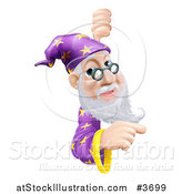 Vector Illustration of a Wizard Pointing Around a Sign by AtStockIllustration