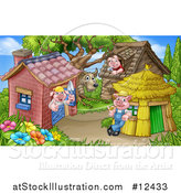 Vector Illustration of a Wolf and Piggies from the Three Little Pigs Fairy Tale, at Their Brick, Wood and Straw Houses by AtStockIllustration