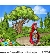 Vector Illustration of a Wolf Stalking Little Red Riding Hood by AtStockIllustration