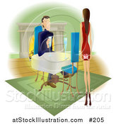 Vector Illustration of a Woman Approaching a Man with a Gift Behind Her Back by AtStockIllustration