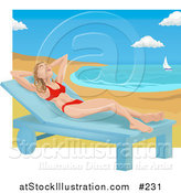 Vector Illustration of a Woman in a Red Bikini on a Chaise Lounge on a Beach by AtStockIllustration