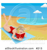 Vector Illustration of a Woman Lying on a Beach Towel on a Beach and Reading a Book by AtStockIllustration