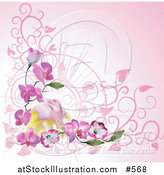 Vector Illustration of a Woman Relaxing on Orchid Flowers over Pink by AtStockIllustration