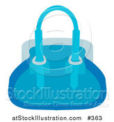 Vector Illustration of a Woman's Blue Purse Hand Bag by AtStockIllustration