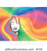 Vector Illustration of a Woman's Face with Her Long Rainbow Colored Hair Filling the Background by AtStockIllustration
