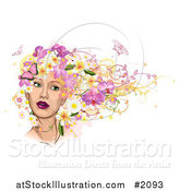 Vector Illustration of a Woman's Face with Pink Butterflies and Flowers in Her Hair by AtStockIllustration