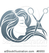 Vector Illustration of a Woman's Head in Profile, with Long Hair and Scissors Snipping off a Lock by AtStockIllustration