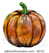 Vector Illustration of a Woodblock Pumpkin by AtStockIllustration
