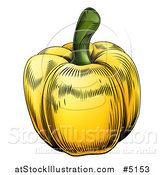 Vector Illustration of a Woodblock Yellow Bell Pepper by AtStockIllustration