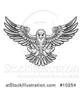 Vector Illustration of a Woodcut Black and White Eagle Swooping down with Talons Extended by AtStockIllustration