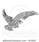 Vector Illustration of a Woodcut Black and White Eagle Swooping with Talons Extended by AtStockIllustration