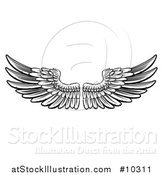 Vector Illustration of a Woodcut Black and White Pair of Feathered Wings by AtStockIllustration
