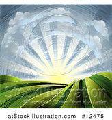 Vector Illustration of a Woodcut Cloud and Sunrise Sky over Farmland by AtStockIllustration