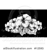 Vector Illustration of a Woodcut Hibiscus Flower Design on Black by AtStockIllustration