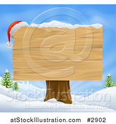 Vector Illustration of a Wooden Christmas Sign in a Winter Landscape by AtStockIllustration