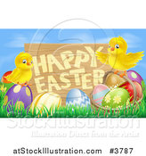 Vector Illustration of a Wooden Happy Easter Sign with Chicks and Easter Eggs Against Blue Sky by AtStockIllustration