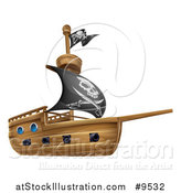Vector Illustration of a Wooden Pirate Ship with a Jolly Roger Flag by AtStockIllustration