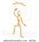Vector Illustration of a Wooden Puppet Lifting off His Hat by AtStockIllustration