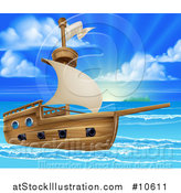 Vector Illustration of a Wooden Ship in a Beautiful Blue Sea at Sunrise or Sunset by AtStockIllustration