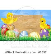 Vector Illustration of a Wooden Sign Against a Blue Sky with Easter Eggs and Chicks by AtStockIllustration