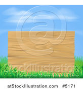 Vector Illustration of a Wooden Sign and Grass Under a Blue Sky by AtStockIllustration