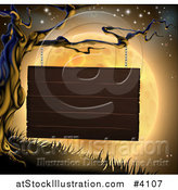 Vector Illustration of a Wooden Sign Hanging from a Spooky Tree Against an Orange Halloween Moon by AtStockIllustration
