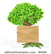 Vector Illustration of a Wooden Sign Hanging on a Tree by AtStockIllustration