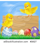 Vector Illustration of a Wooden Sign with Chicks and Easter Eggs Against Blue Sky by AtStockIllustration