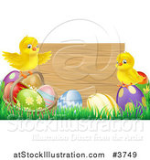 Vector Illustration of a Wooden Sign with Easter Chicks and Eggs by AtStockIllustration
