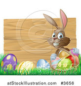 Vector Illustration of a Wooden Sign with Easter Eggs and a Bunny by AtStockIllustration