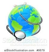 Vector Illustration of a World Earth Globe Wrapped in a Stethoscope by AtStockIllustration