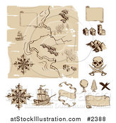 Vector Illustration of a Worn Old Treasure Map and Design Elements by AtStockIllustration