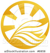 Vector Illustration of a Yacht, Waves and Sun Rays by AtStockIllustration