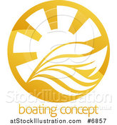 Vector Illustration of a Yacht, Waves and Sun Rays over Sample Text by AtStockIllustration