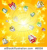 Vector Illustration of a Yellow and Orange Sun Burst of 3d Gifts and Stars by AtStockIllustration