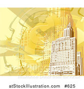 Vector Illustration of a Yellow and Orange Toned Building Background by AtStockIllustration