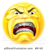 Vector Illustration of a Yellow Angry Screaming Emoji Emoticon Smiley by AtStockIllustration