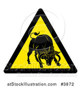 Vector Illustration of a Yellow Caution Bull Sign by AtStockIllustration