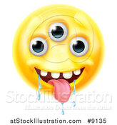 Vector Illustration of a Yellow Drooling Alien Monster Emoji Emoticon Smiley by AtStockIllustration