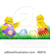 Vector Illustration of a Yellow Easter Chicks Playing in Grass with Eggs by AtStockIllustration