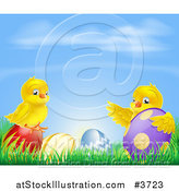 Vector Illustration of a Yellow Easter Chicks Playing in Grass with Eggs Under a Blue Sky by AtStockIllustration