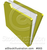 Vector Illustration of a Yellow File Folder with a Document by AtStockIllustration