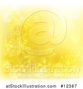 Vector Illustration of a Yellow Golden Snowflake Winter Christmas Background by AtStockIllustration