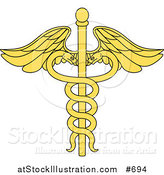 Vector Illustration of a Yellow Medical Caduceus with Double Helix Snakes by AtStockIllustration