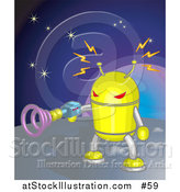 Vector Illustration of a Yellow Robot Shooting a Gun While on a Planet in Space by AtStockIllustration