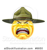 Vector Illustration of a Yellow Smiley Emoji Emoticon Army Drill Sergeant Yelling by AtStockIllustration