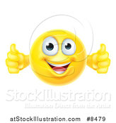 Vector Illustration of a Yellow Smiley Emoji Emoticon Giving Two Thumbs up by AtStockIllustration
