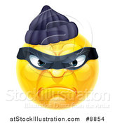 Vector Illustration of a Yellow Smiley Emoji Emoticon Robber by AtStockIllustration